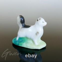 Antique Miniature Cat Staffordshire Figurine 1 Bisque Pottery Figure Porcelain