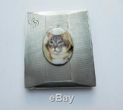 Antique Solid Silver Enamel Tabby Cat Cigarette Case