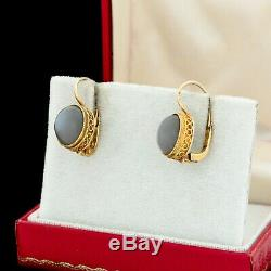 Antique Vintage Art Deco Sterling Silver Gold Wash Cats Eye Chrysoberyl Earrings