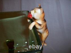 Antique Vintage Green Glass Fish Bowl Tank Aquarium Cat Cast Iron Houze Glass