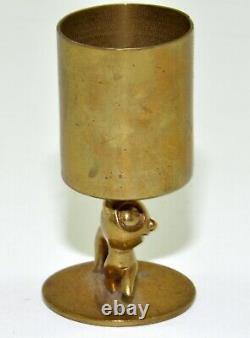 Antique Whw Hagenauer Austrian Brass Felix Cat Match Holder Statue Paperweight