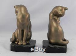 Antique c1930 Art Deco Cat BookendsBronzed Metal Sculpture on Black Slate Base