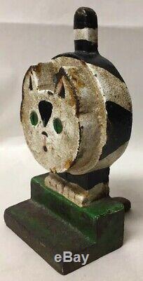 Antique or Vtg Art Deco Wedge Cat Hubley Door Stop Doorstop Painted Cast Iron