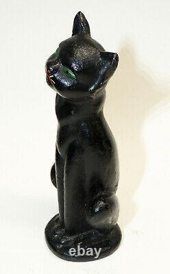 Antique vtg 10 Hubley Solid Cast Iron HALLOWEEN Black CAT Seated Original Paint
