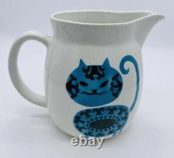 Arabia Pottery Pitcher Finland Blue Black Loose Headed Cat Pitcher Kaj Franck