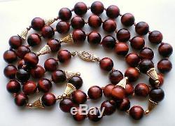 Art Deco 14K Gold Cat's Eye Beads Beaded Necklace Opera Length 32.5 14kt
