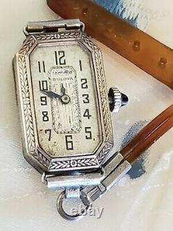 Art Deco 1920s Antique Vtg Ladies Bulova Cats Eye Sapphire Crown Watch 4U2Fix