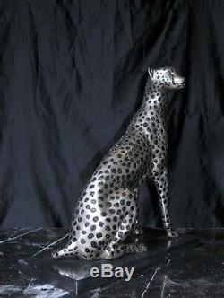 Art Deco Bronze Ceetah Cat Statue Lions Feline Casting