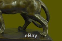 Art Deco Bronze Cheetah Statue Big Cat Leopard Feline Panther Lion Jaguar Figure