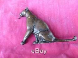 Art Deco Bronze Panther Cat W Tongue Out Pocket Watch Holder Or Stand