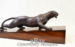 Art Deco Bronze Panther Statue Cat Casting