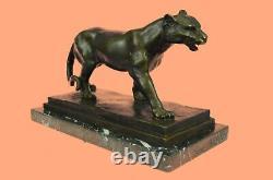 Art Deco Brown Bronze Cheetah Statue Big Cat Leopard Feline Panther Lion Jaguar