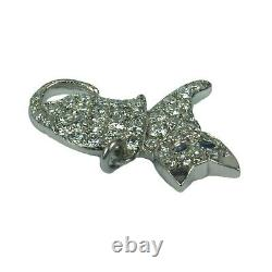 Art Deco Cat Platinum White Diamond Blue Sapphire Charm Pendant
