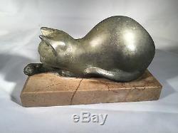 Art Deco Cat Sculpture French Artist M. Font Signed