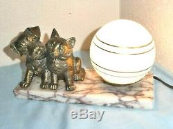 Art Deco Cat and Dog Marble Desk Table Lamp Attractive Blue Glass Globe Shade