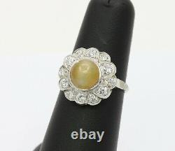 Art Deco Cats Eye Chrysoberyl and Diamond Halo Platinum Ring