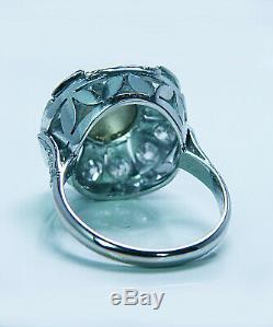 Art Deco Chrysoberyl Cats Eye old European Diamond 18K White Gold Ring Estate