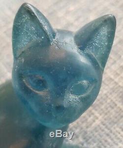 Art Deco Daum Teal Blue Pate De Verre Cat, Signed