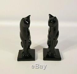 Art Deco Frankart Moderne Sitting Cat Bookends Black