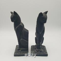 Art Deco Frankart Style Siamese Cat Bookends Vintage Cubist Style Metal Figurine