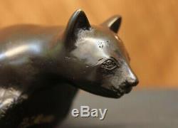 Art Deco Lion Signed Bronze Statue Figure Cubist Wild Cat Hot Cast Figurine