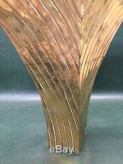Art Deco Modernist Dolbi Cashier Large Brass Panther Cat Vase 20 Tall