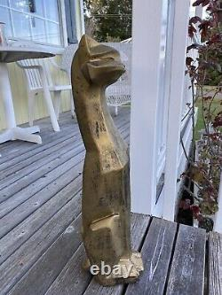 Art Deco Siamese Cat Bronzed Metal Vintage Cubist Style Statue MID Century