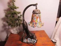 Art Deco Stretching Cat Table Lamp Millefiori Shade Very Cute Cat Lamp
