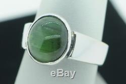 Art Deco Style 14K White Gold Green Cat's Eye Natural Beryl Gemstone Ring 5 1/8