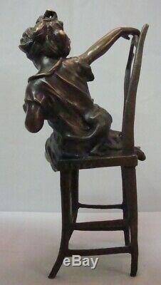 Art Deco Style Statue Sculpture Cat Daughter Art Nouveau Style Bronze Signed