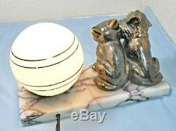 Art Deco attractive Cat and Dog Marble Desk Table Lamp Blue Glass Globe Shade