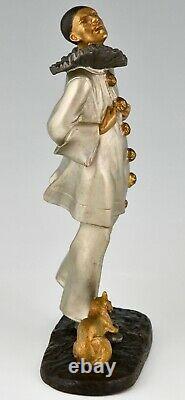 Art Deco bronze sculpture Pierrot and cat Robert Bousquet France 1930