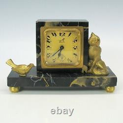 Art Deco gilded bronze cat and bird desk clock on black marble base