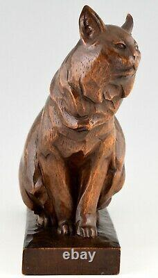 Art Deco wooden sculpture of a cat hand carved by Irenee Rochard France 1930