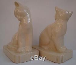 Art Nouveau Style Bookends Figurine Cat Wildlife Art Deco Style Porcelain Crackl