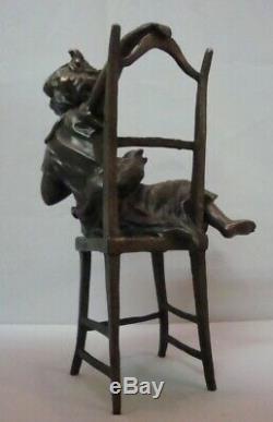 Art Nouveau Style Statue Sculpture Cat Daughter Art Deco Style Bronze Signed