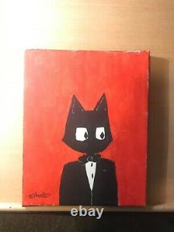 Art deco, cat, 8x11, tuxedo, modern art, painting, original, acrylic, pop art