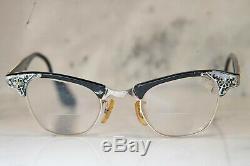 Artcraft 12k Gold Filled Cat Eye Glasses, Art Deco Filigree Etched Floral
