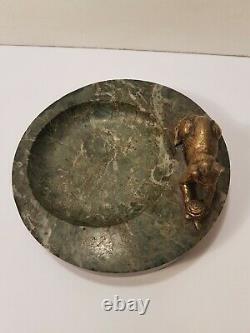 Ashtray Empty Pocket Marble Ornate D'Un Cat Bronze Art Deco