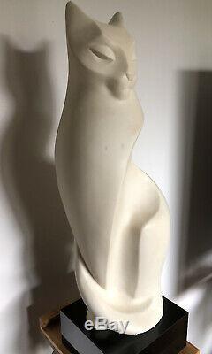 Austin ProductionsMAGICLimestone Cat Sculpture By Alexander Danel 1990 RARE