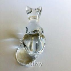 Baccarat Crystal Clear Glass Crouched Cat Figurine Paperweight Signed Sticker