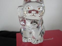 Baccarat Crystal Clear Lucky Cat Chat 2607786 Perfect With Orig Box List $390