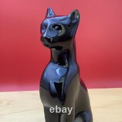 Baccarat French Crystal Black Cat Figurine Egyptian Art Deco Glass Paperweight
