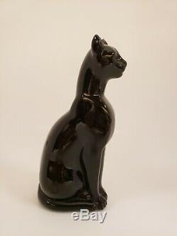 Baccarat French Crystal Black Crystal Cat Sitting Figurine