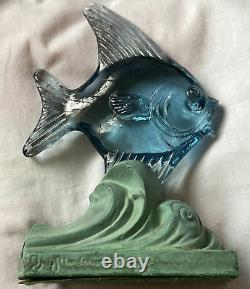 Bermondsey Blue Glass Fish Art Deco Waves Signed Guy Underwood 1933 Paperweight