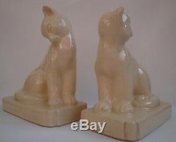 Bookends Cat Wildlife Art Deco Style Art Nouveau Style Porcelain Crackleware Fig
