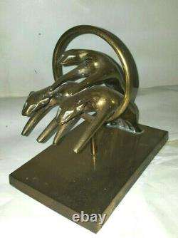 Brass Panther Jaguar Cougar Leopard sculpture figurine Big Cat Hunting Statue