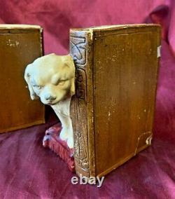 Bretby Cat & Dog Antique Plaster Bookends 1920's Original