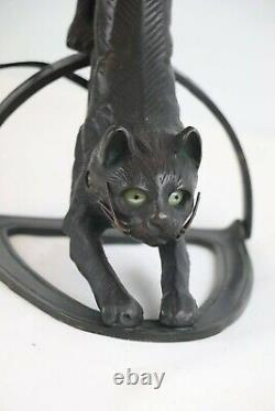 Bronze Crouching Cat Lamp with Glass Tulip Shade Light Up Eyes Art Deco Style
