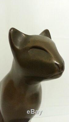 Bronze Sculpture Art Deco Bast Style Egyptian Cat Statue Vintage 8.5 Signed Dew